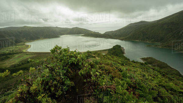 Lagoa do fogo in the Sao Miguel Island in Azores, Portugal Royalty-free stock photo