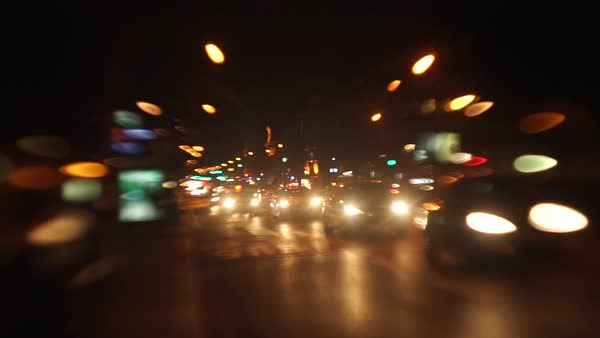 Hand-held shot of traffic in Paris at night Royalty-free stock video