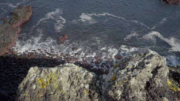 High angle shot of volcanic rocks on the coast Royalty-free stock video