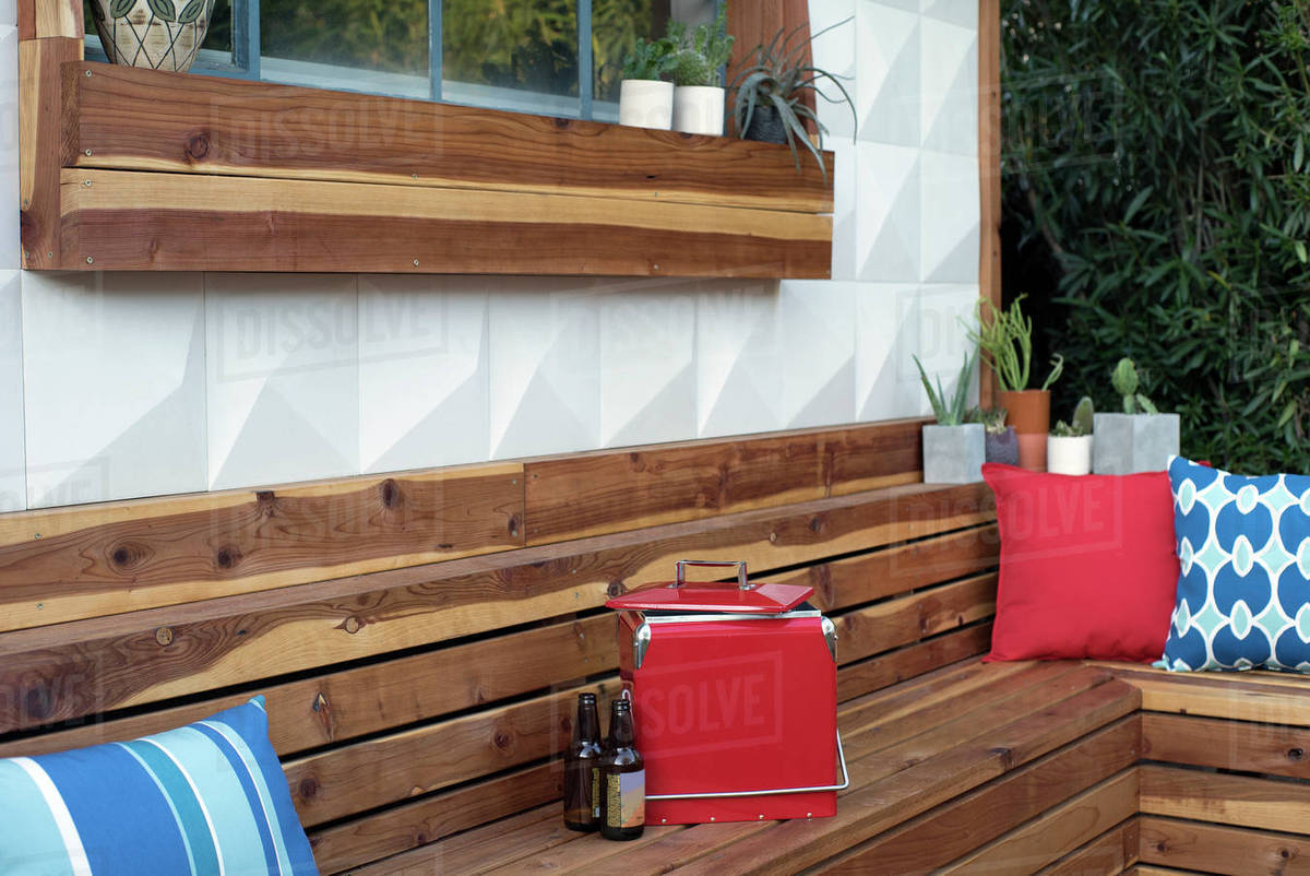 Remarkable Beer Bottles And Cooler On Wooden Bench In Backyard D1061 101 348 Gmtry Best Dining Table And Chair Ideas Images Gmtryco