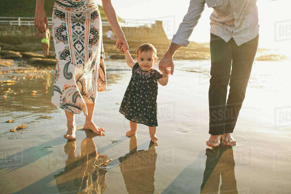 Low section of parents assisting daughter to walk at beach during sunset Royalty-free stock photo