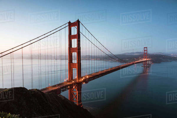 High angle view of Golden Gate Bridge over sea against clear blue sky Royalty-free stock photo