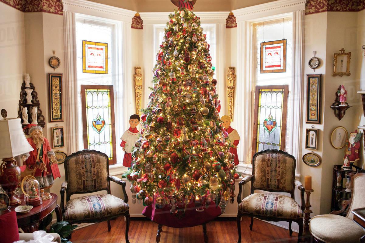 Christmas Decoration Indoors.Decorated Christmas Tree Indoors Stock Photo