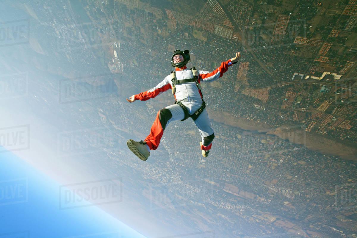 Man skydiving Royalty-free stock photo