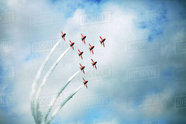 Airplanes flying in formation in air show Royalty-free stock photo