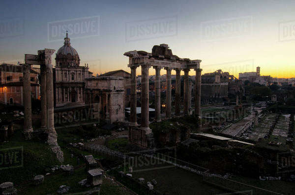 Roman Forum panorama at sunset Royalty-free stock photo