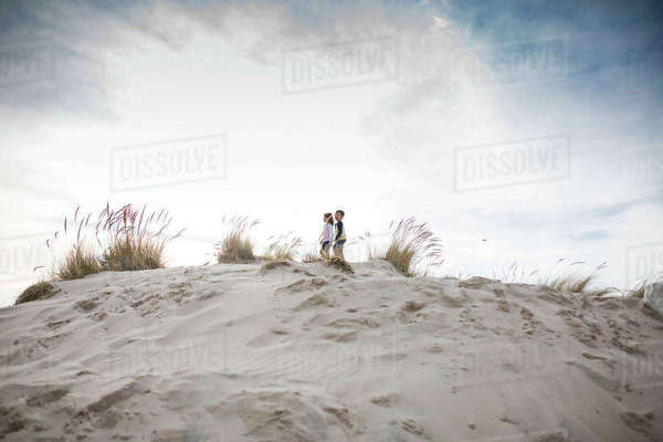 Mid distance view of siblings standing on sand at beach against cloudy sky Royalty-free stock photo