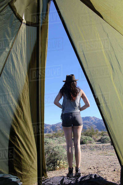 Rear view of hiker standing on field seen through tent Royalty-free stock photo