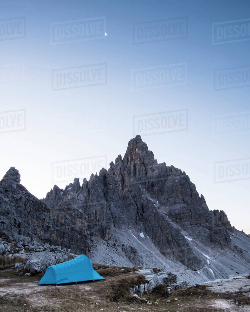 Blue tent on mountain against sky during sunset & Blue tent on mountain against sky during sunset - Stock Photo ...