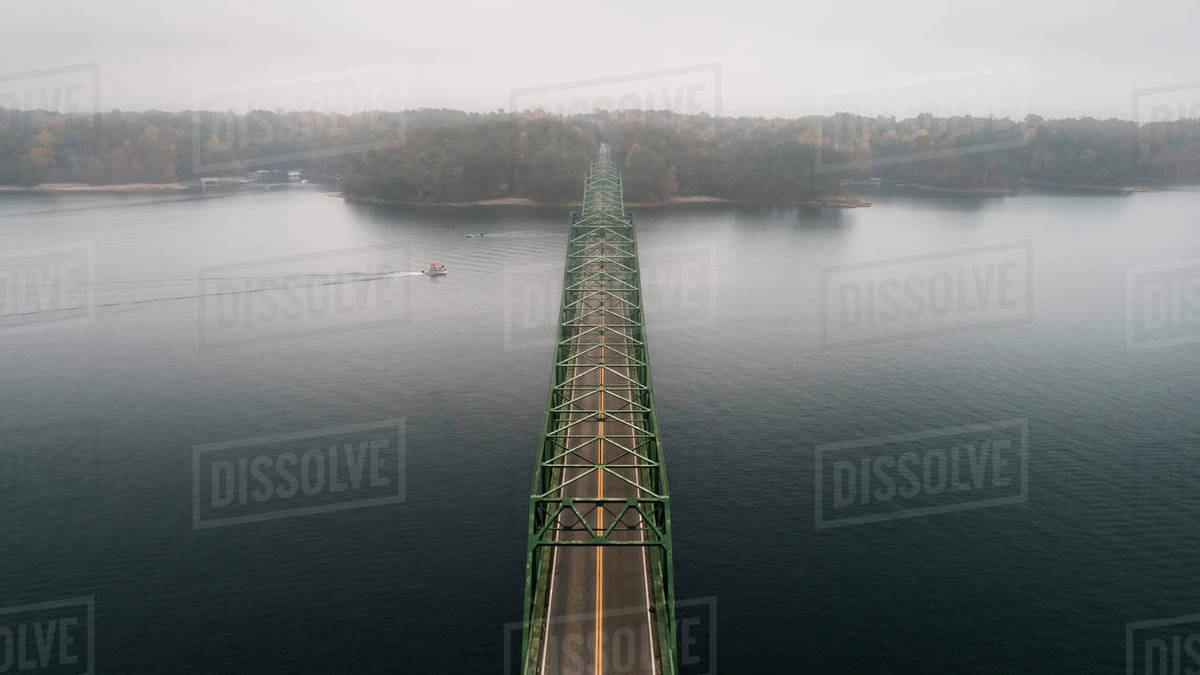 High angle view of Browns Bridge over Lake Sidney Lanier against sky stock  photo