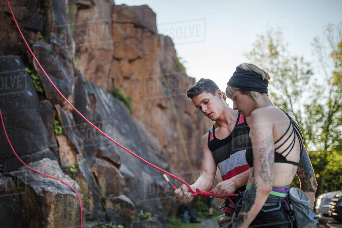Preparing for a day of rock climbing amongst friends Royalty-free stock photo