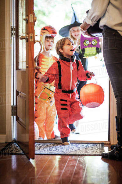 Children (2-3,  4-5,  8-9) on Halloween Royalty-free stock photo