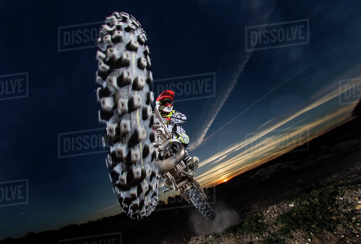 Close-up of motocross jumping. Royalty-free stock photo