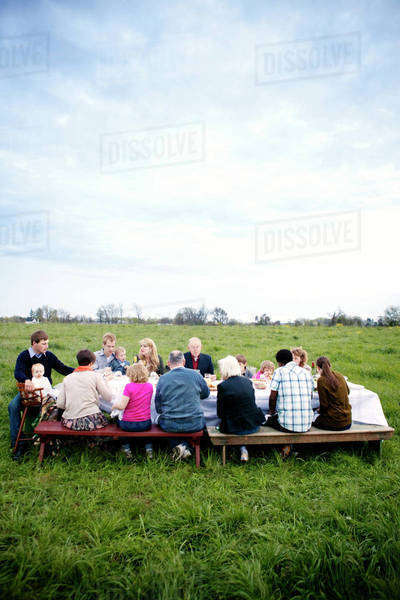 Large family with kids (6-11 months, 18-23 months, 2-3, 4-5, 6-7, 8-9) eating dinner in field Royalty-free stock photo
