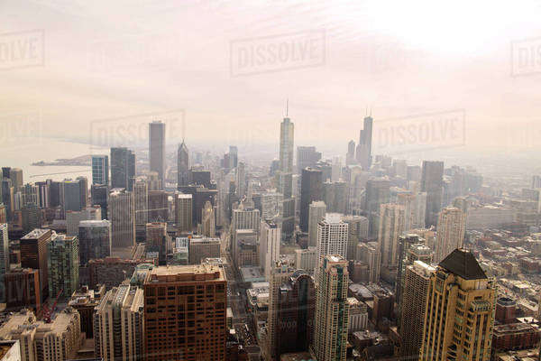 Ariel view of downtown district Royalty-free stock photo