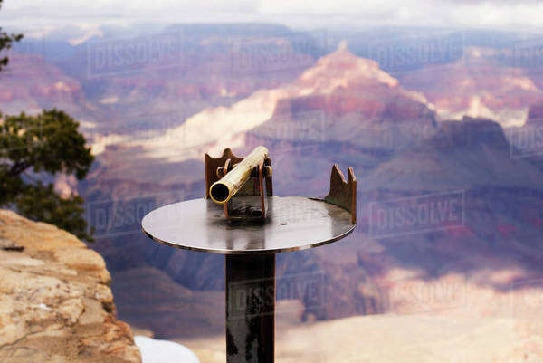 Close-up of binocular on metal against mountains at Grand Canyon National Park Royalty-free stock photo