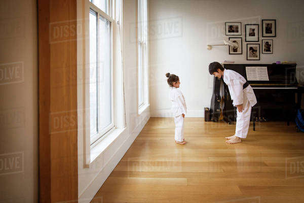 Siblings practicing karate in brightly lit home Royalty-free stock photo