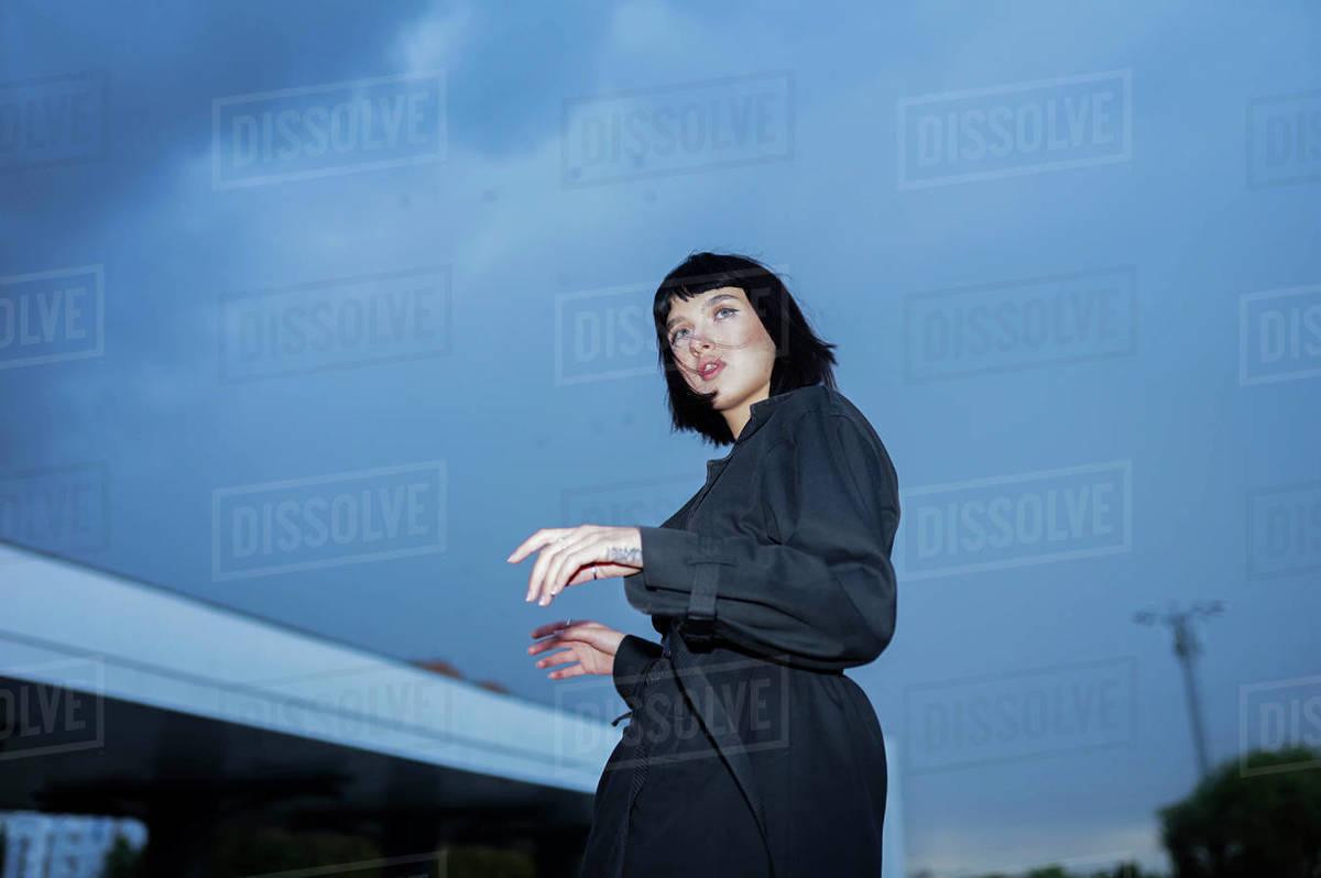 Fashion portrait of a walking woman Royalty-free stock photo