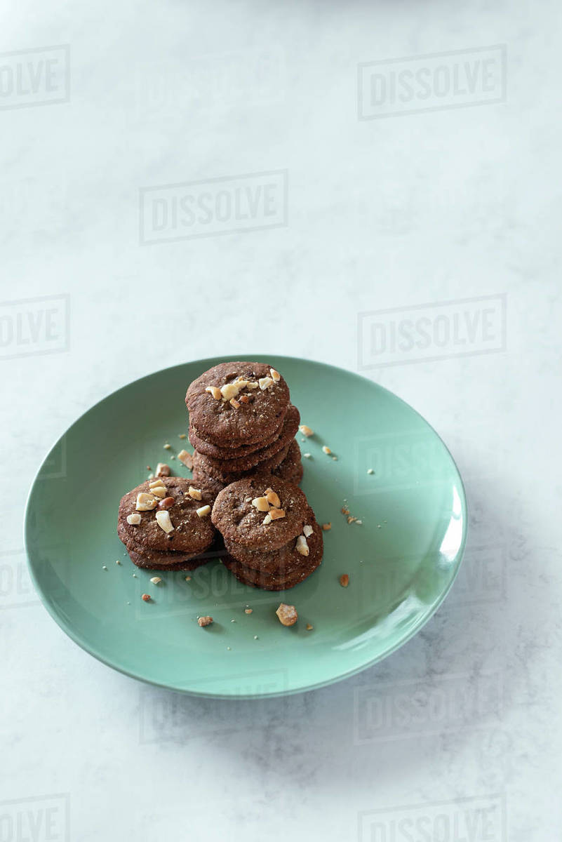 Overhead view of handmade cookies served in a plate Royalty-free stock photo