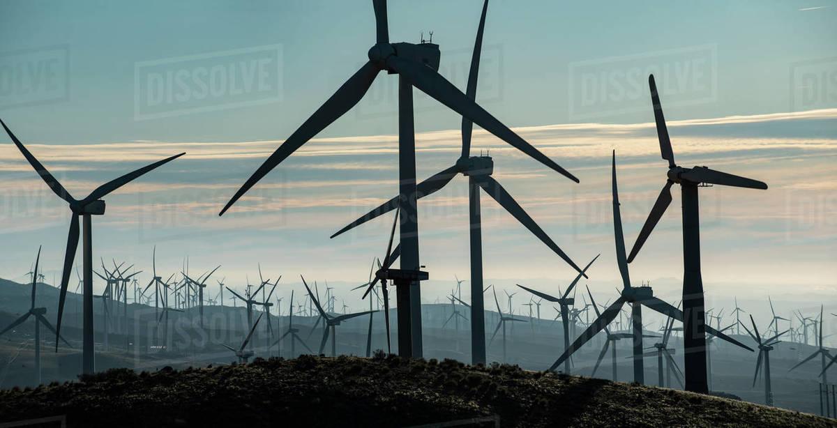 Windmills Dot the California Mountainside near Mojave Desert Royalty-free stock photo