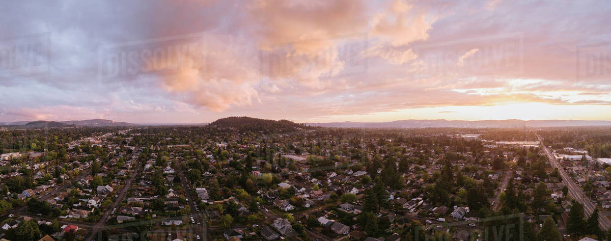Aerial view of Portland. OR neighborhood at sunset Royalty-free stock photo