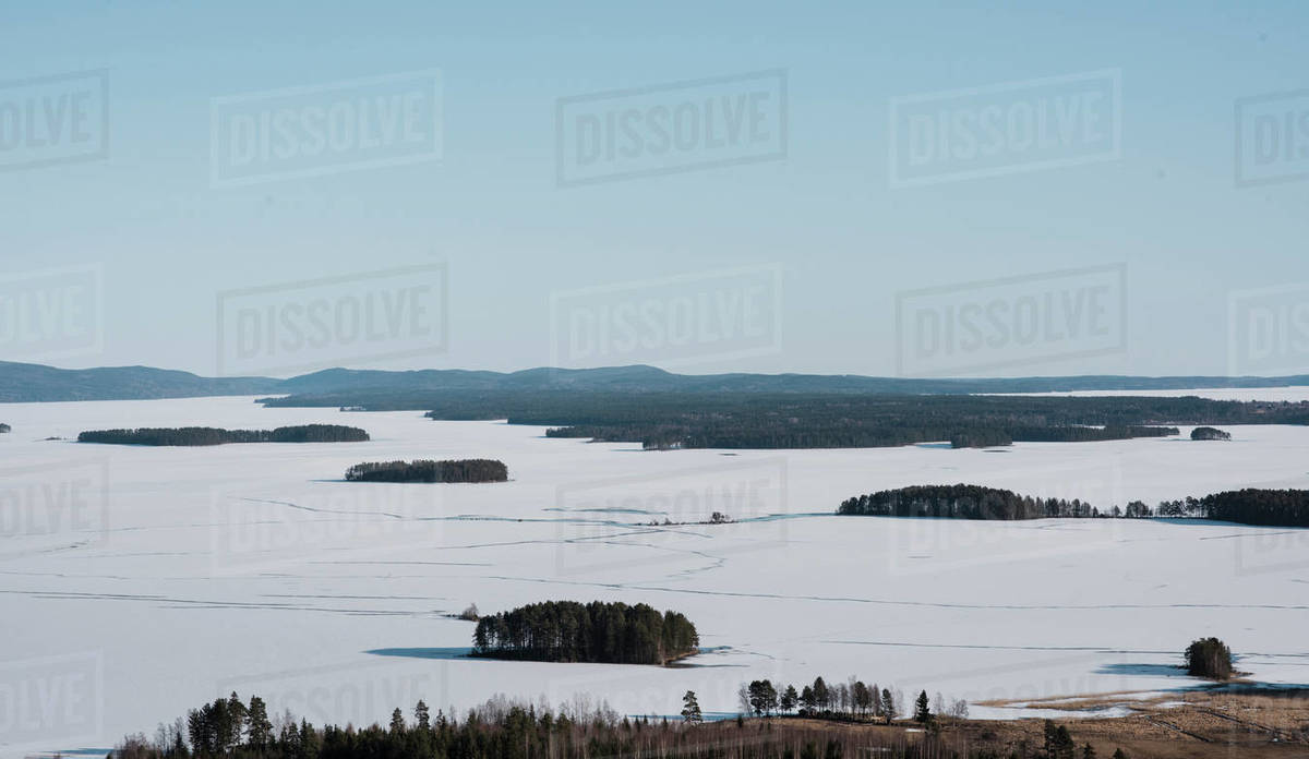 View over the mountains and the frozen baltic sea in northern Sweden Royalty-free stock photo