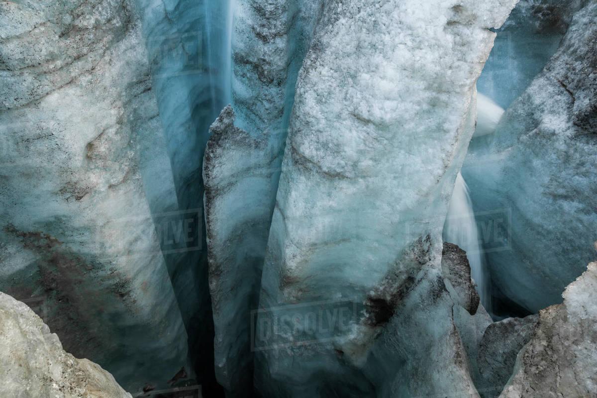 Deep glacial moulin on Snowbird Glacier, Talkeetna Mountains, Alaska Royalty-free stock photo