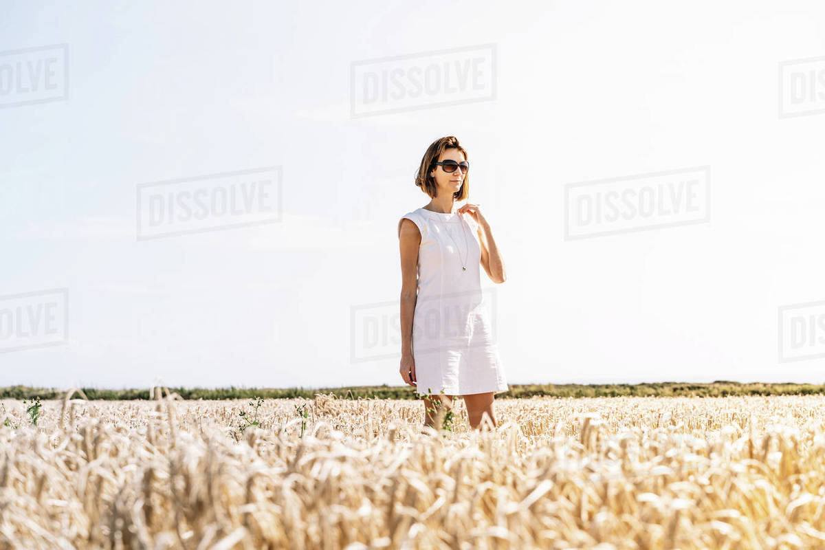 Portrait of a caucasian woman in the country during the summer Royalty-free stock photo