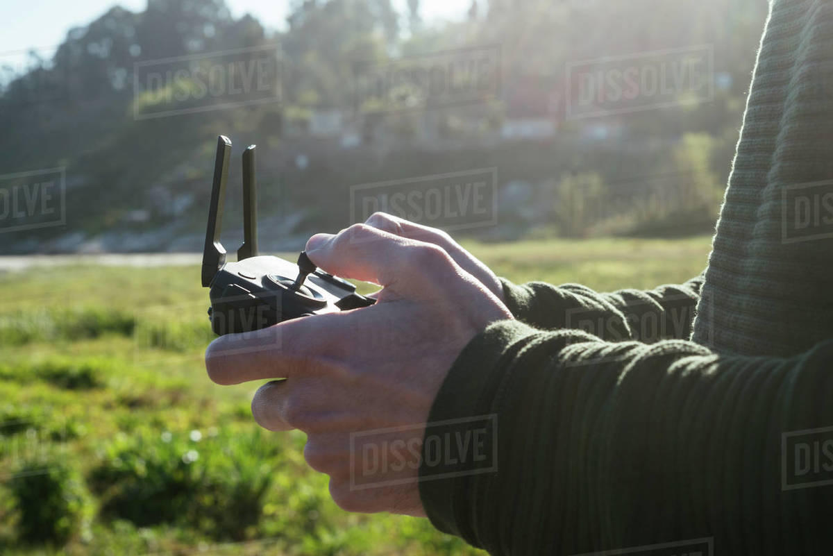 Close up of a remote control of a drone Royalty-free stock photo
