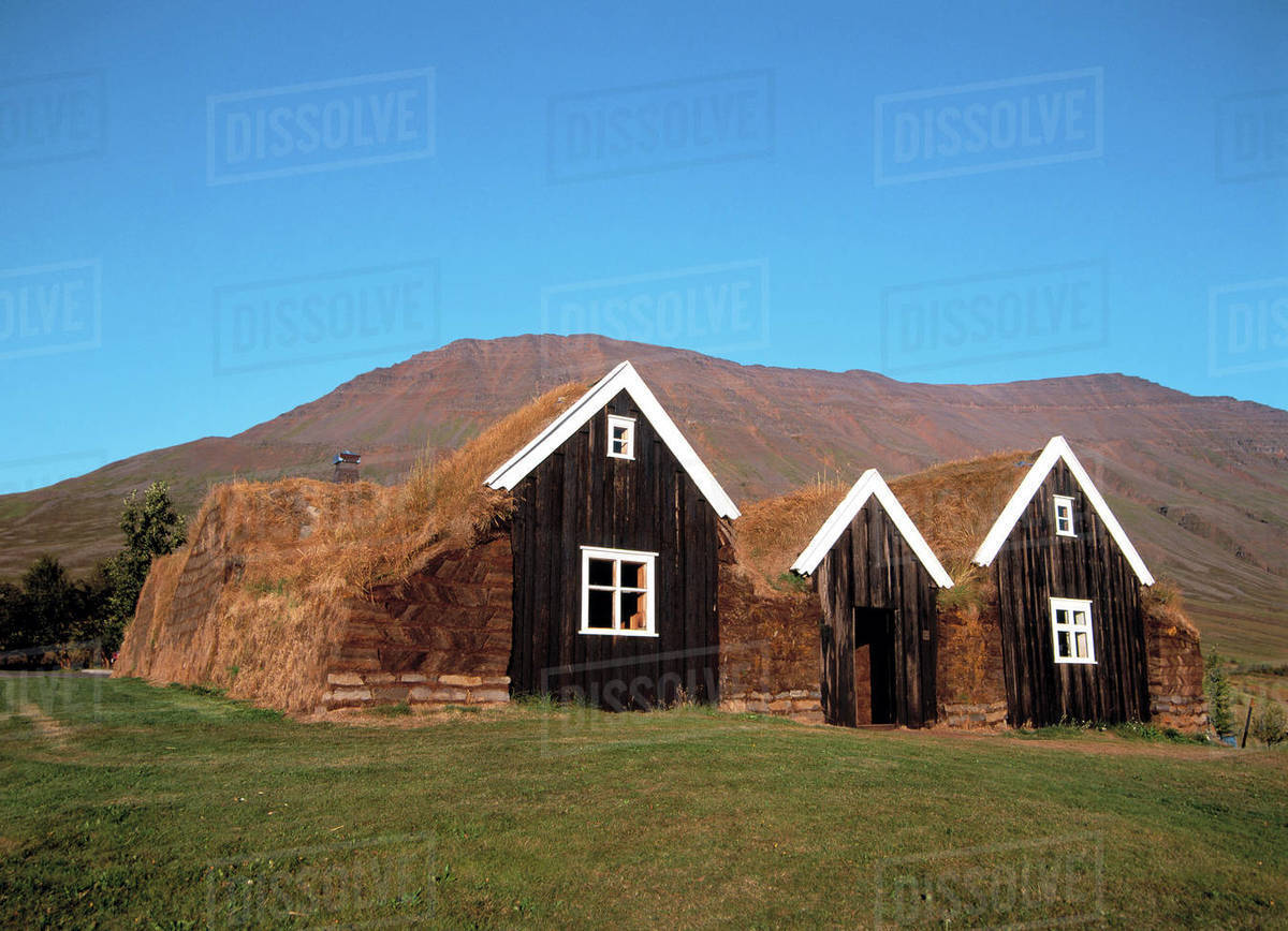 Ancient turf houses in Iceland Royalty-free stock photo