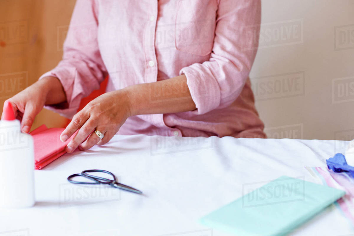 Cropped hands preparing craft material during quarantine Royalty-free stock photo