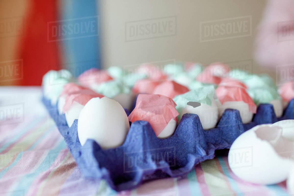 Closeup of decorated eggshells pink and aqua Royalty-free stock photo