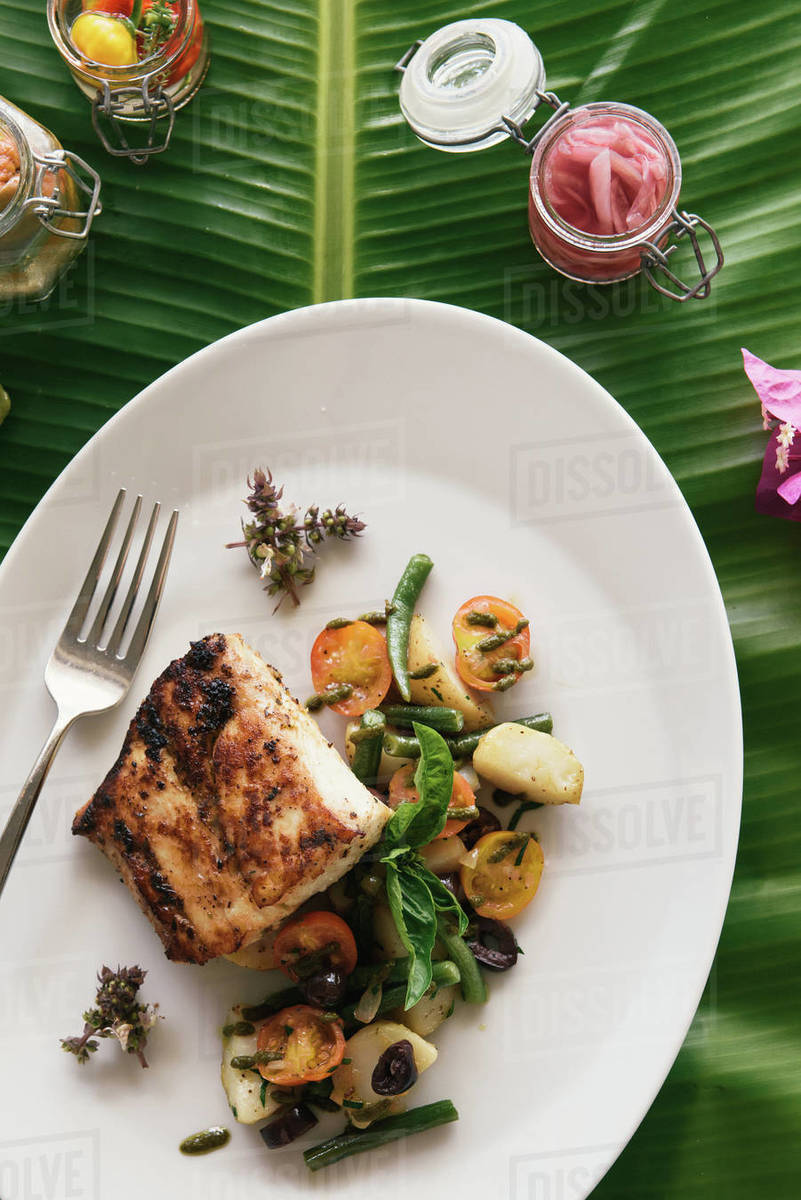 Overhead close up of healthy tropical seafood feast Royalty-free stock photo