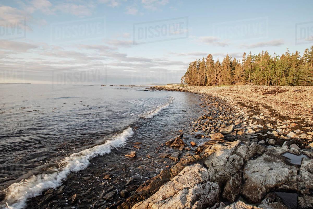 Waves lap against rocky coast at sunrise, Acadia National Park, Maine Royalty-free stock photo