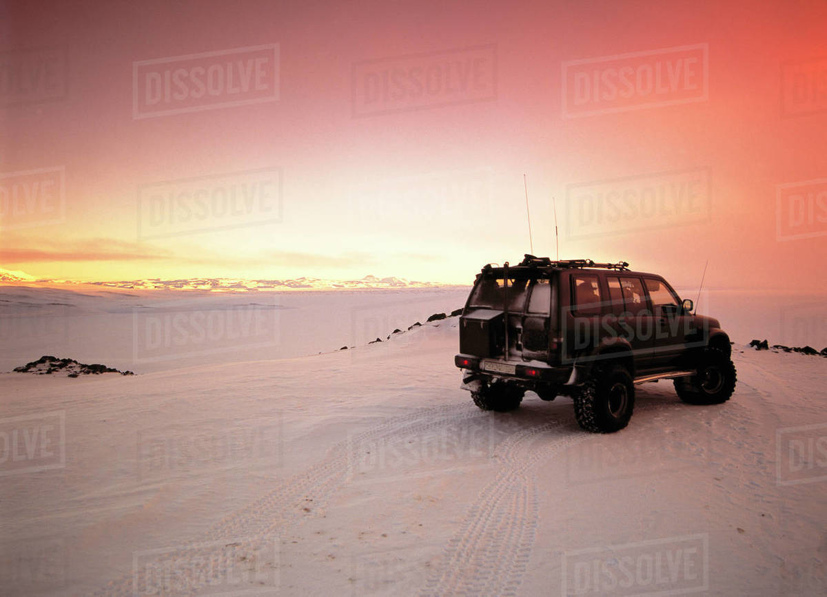 Customised SUV in the highlands of Iceland Royalty-free stock photo