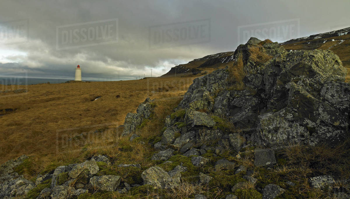 Lighthouse at Skagaströnd in north Iceland Royalty-free stock photo
