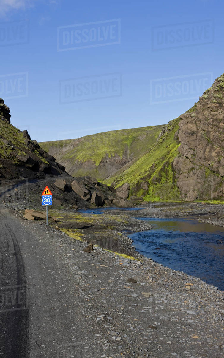 Dirt road in the Icelandic highlands - Fjallabak area Royalty-free stock photo