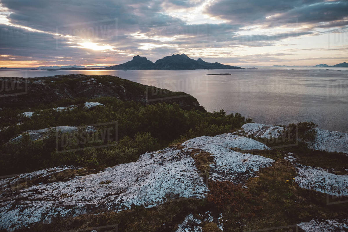 View of mountain island in a cloudy sunset Royalty-free stock photo
