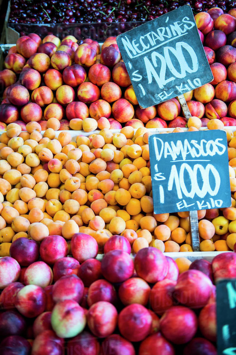Fruit at a market stall in Santiago de Chile Royalty-free stock photo