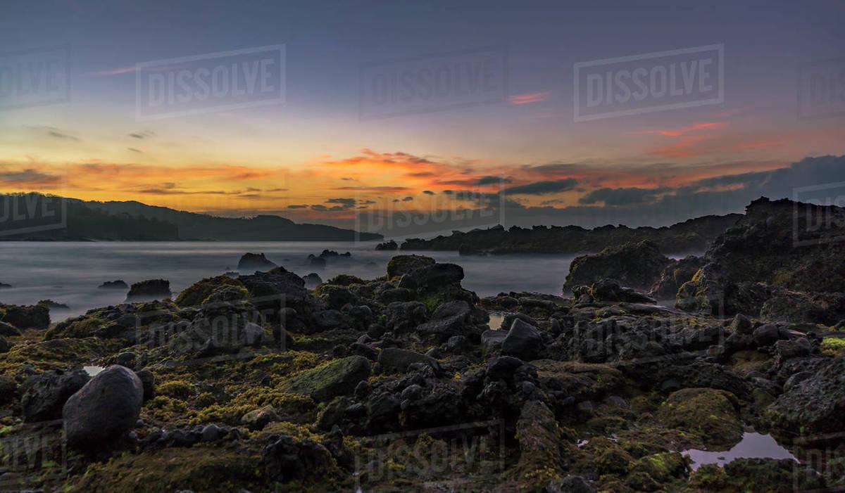 Long exposure magica sunrise taken at Sawarna, Banten, Java, Indonesi Royalty-free stock photo