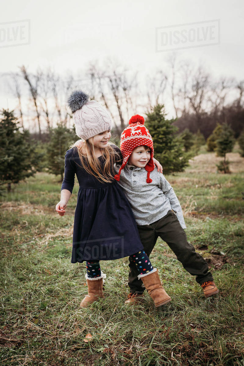 Boy and girl siblings at Christmas tree farm Royalty-free stock photo