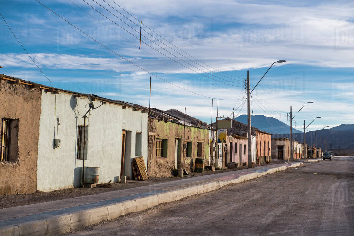Street scene, Ollague, the border between Chile and Bolivia Royalty-free stock photo