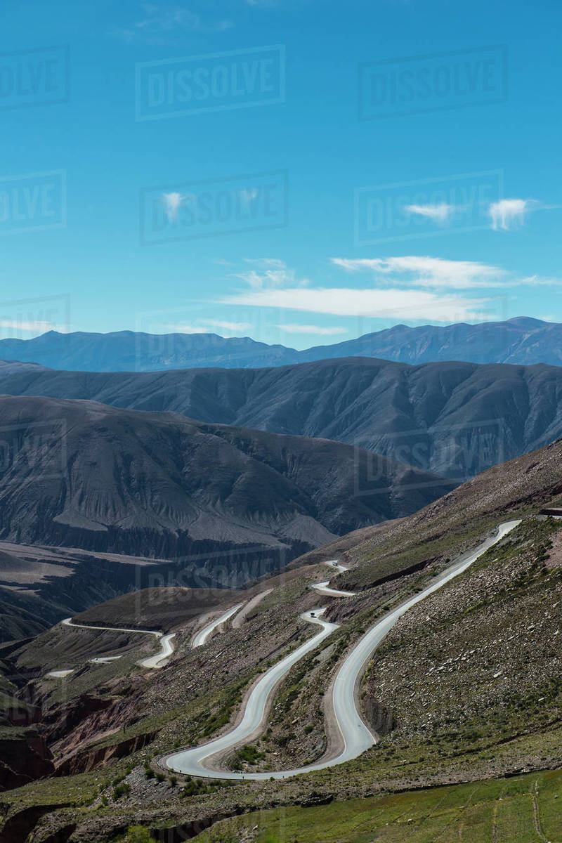 Winding road leading up the Paso de Jama pass in South America Royalty-free stock photo