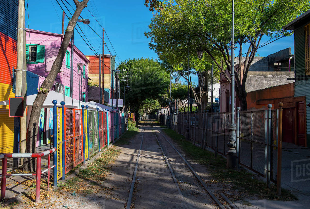 Railway tracks in the La Boca district in Buenos Aires Royalty-free stock photo