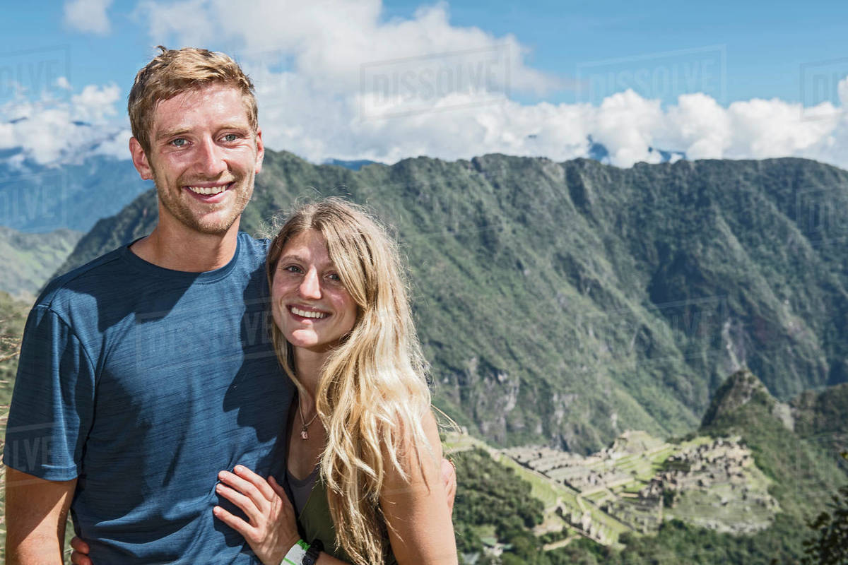 Portrait of young couple on the Inca Trail close to Machu Picchu Royalty-free stock photo