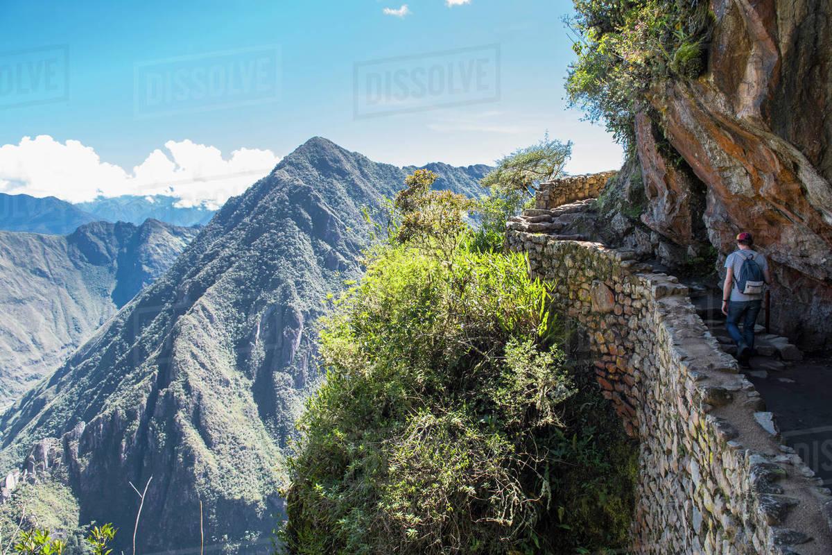 Man hiking up the Inca Trail path close to Machu Picchu Royalty-free stock photo