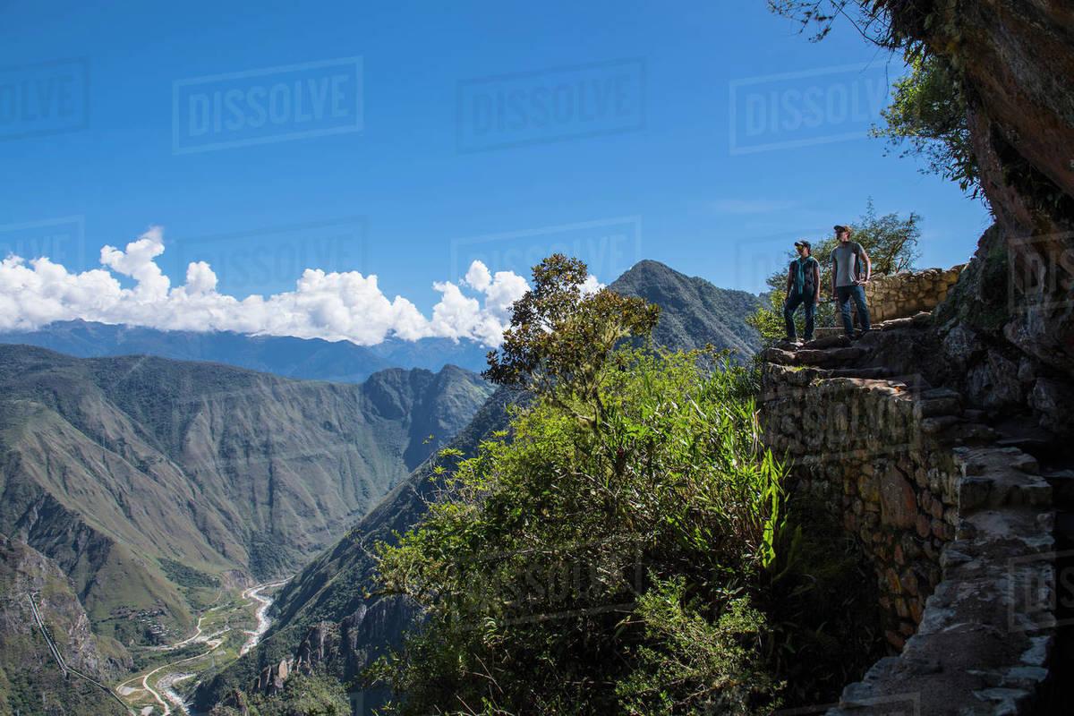 Couple on the Inca Trail path close to Machu Picchu Royalty-free stock photo