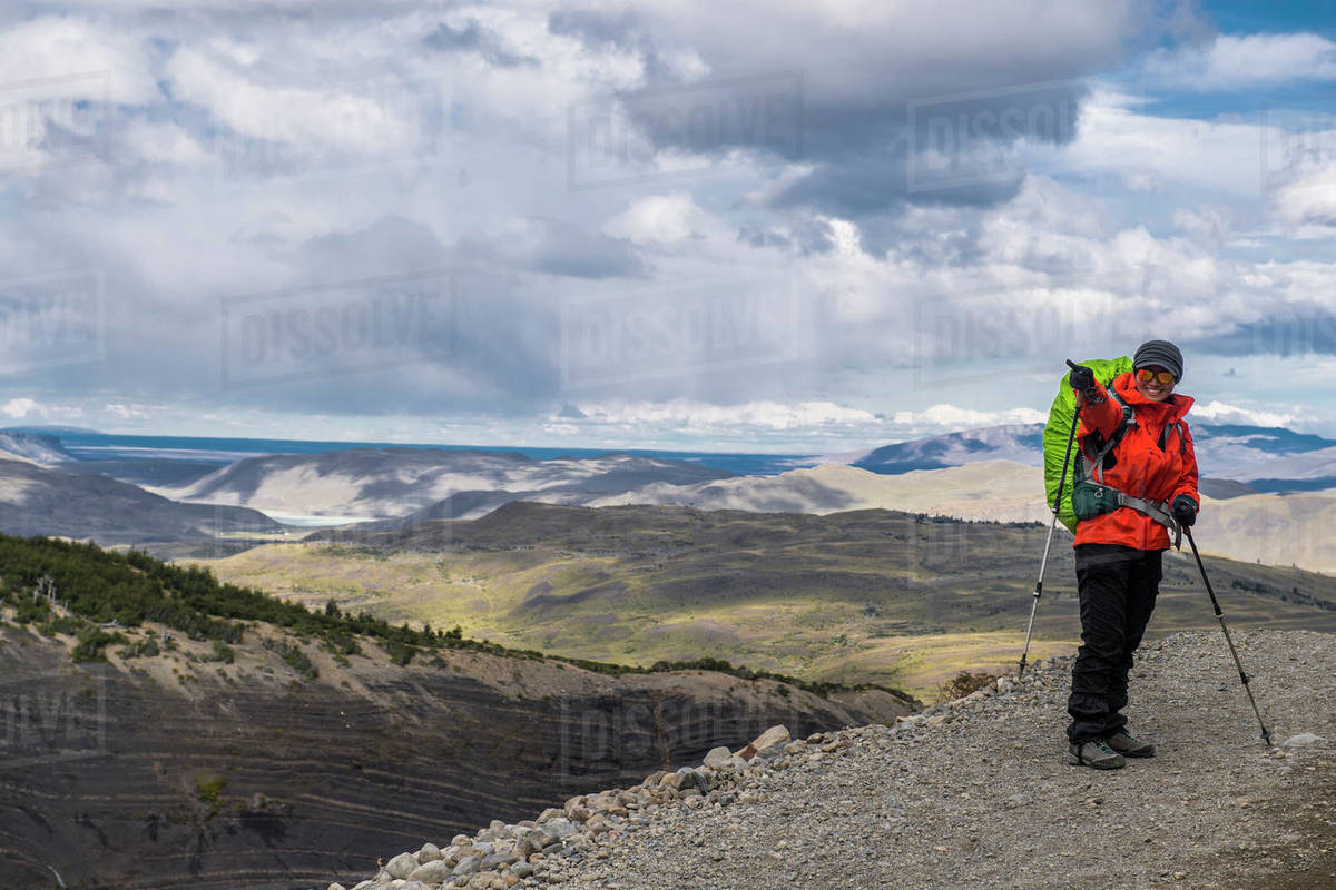 Female hiker at Torres del Paine National park in Patagonia Royalty-free stock photo
