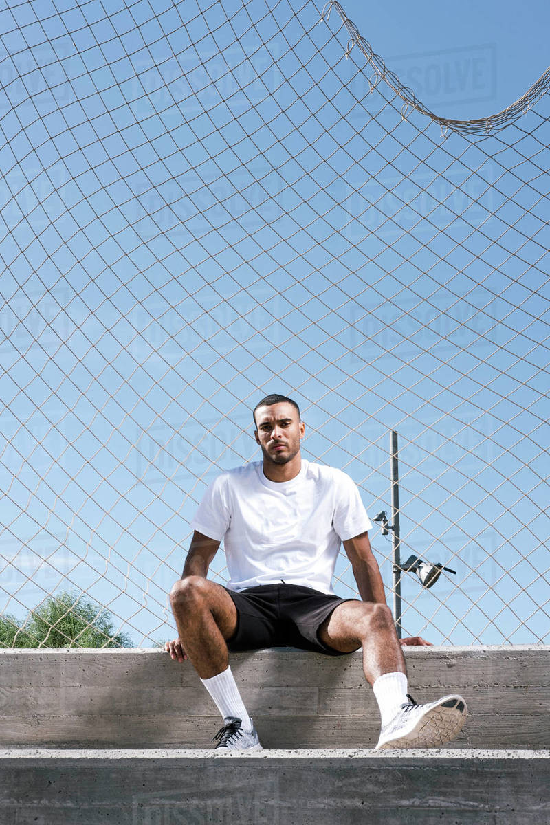 Full length African American male athlete portrait Royalty-free stock photo