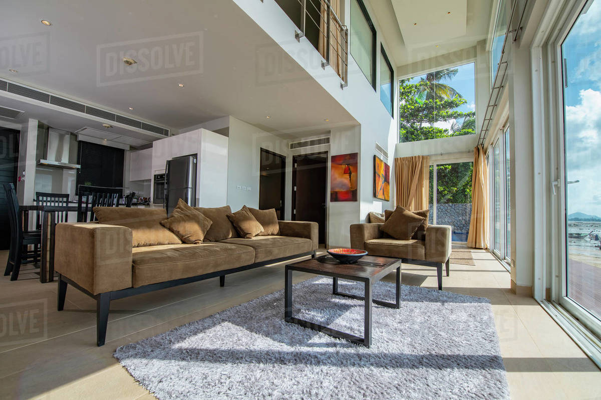 Living room of luxury villa in Phuket Royalty-free stock photo